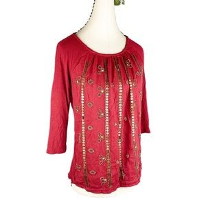 Lucky Brand Boho Red Burnout Gold Sequins Beaded